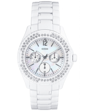 GUESS Watch, Women's WaterPro Glossy White on Steel Bracelet 37mm G12543L