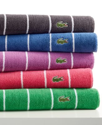 Finished with the signature Lacoste croc patch logo Hand Towel, Size: 16