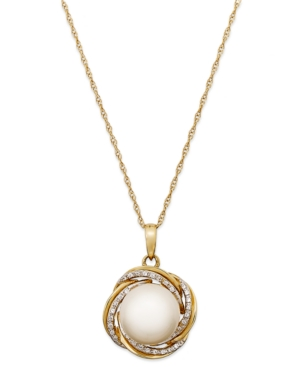 Cultured Freshwater Pearl (10mm) and Diamond (1/10 ct. t.w.) Pendant Necklace in 14k Gold