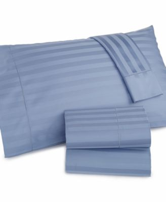 Charter Club Damask Stripe Wrinkle Resistant 500 Thread Count Pima Cotton Full Sheet Set, Only at Macy's