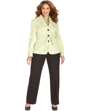 Le Suit Plus Size Belted Utility-Jacket Pantsuit with Scarf