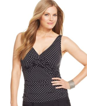 Lauren Ralph Lauren Plus Size Polka-Dot Tankini Top Women's Swimsuit