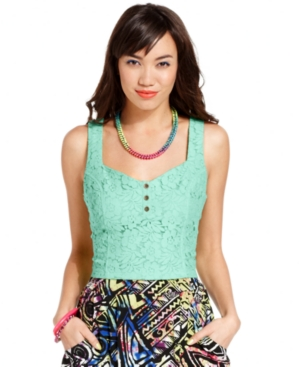 Miss Chievous Juniors Top, Sleeveless Lace Bustier $ 16.99