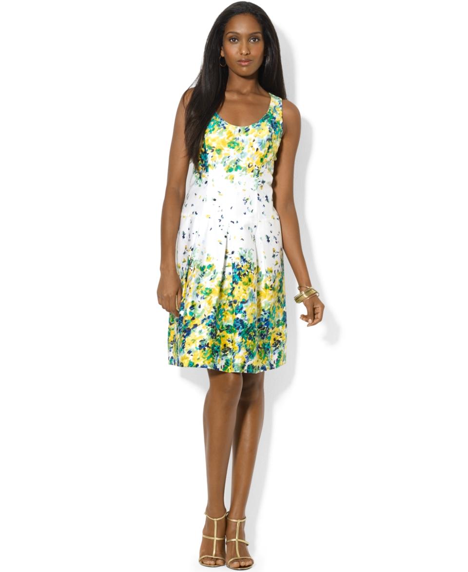 Lauren Ralph Sleeveless Scoop Neck Floral Print Dress   Dresses   Women