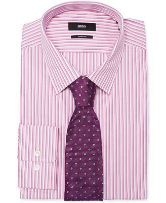 Boss hugo boss fitted pink stripe dress shirt purple dot for Ties that go with purple shirts