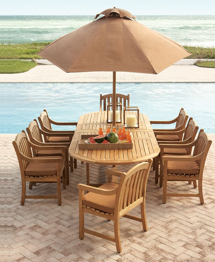 """Furniture - Bristol Outdoor 9 Piece Set: 87"""" x 47"""" Dining Table and 8 Dining Chairs"""