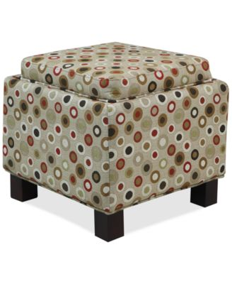 Kylee Fabric Script Accent Storage Ottoman with Pillows, Direct