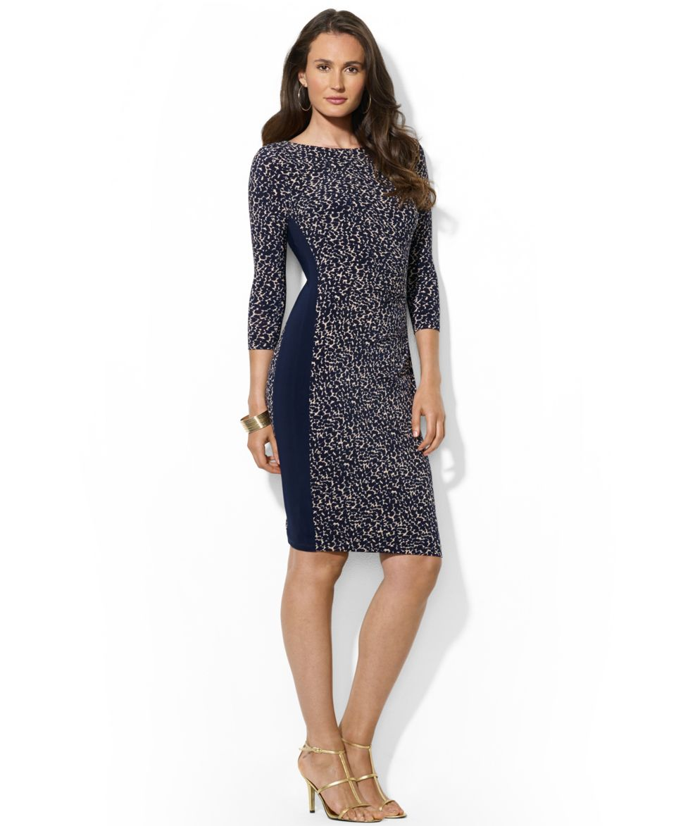 Lauren Ralph Lauren Three Quarter Sleeve Status Print Sheath Dress   Dresses   Women