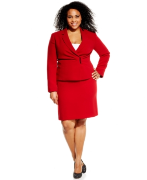 Tahari ASL Plus Size Draped Hardware Skirt Suit