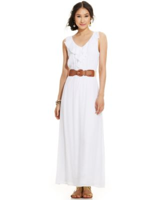AGB Ruffle-Trim Belted Maxi Dress