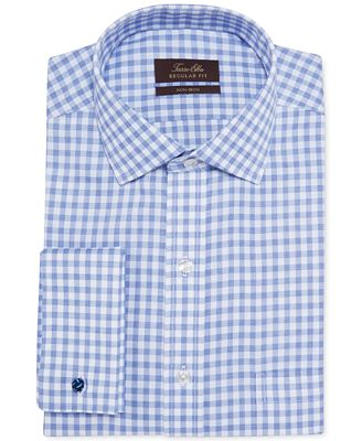 Tasso Elba Non Iron Blue End On End Gingham French Cuff