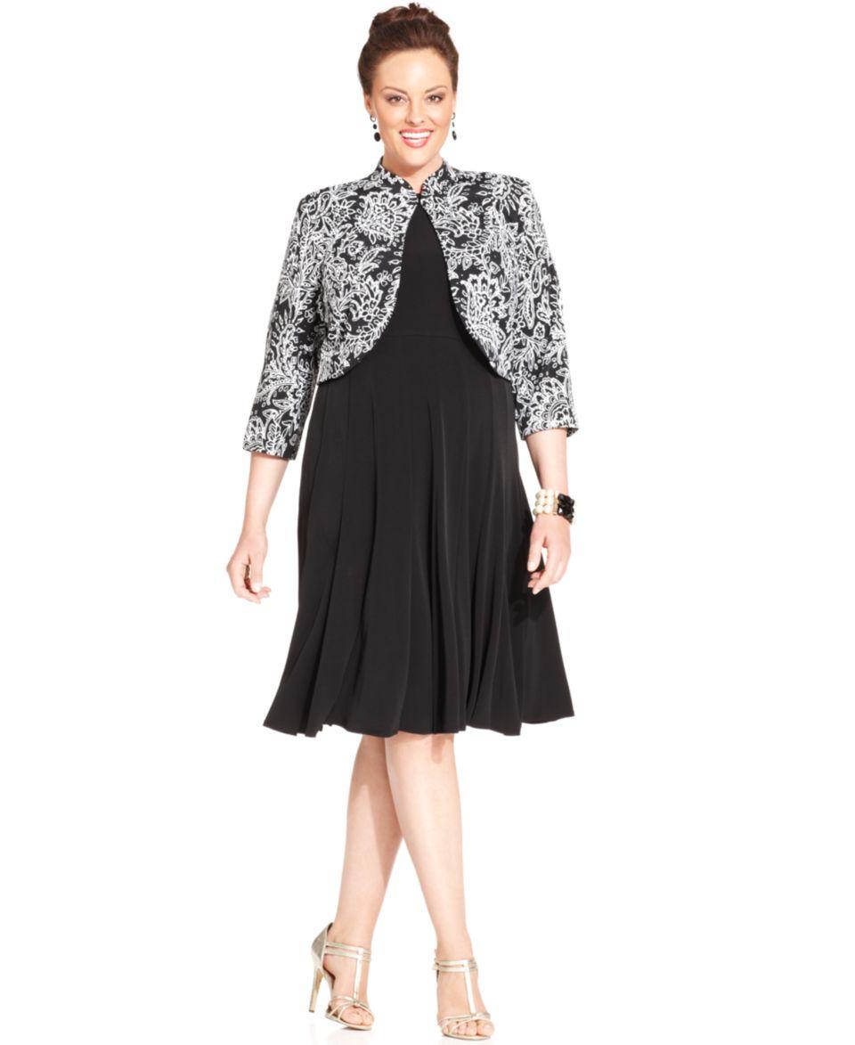 Jessica Howard Plus Size Sleeveless Floral Print Dress and Jacket