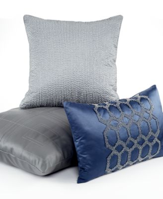 "Hotel Collection Quadre Blue 12"" x 20"" Decorative Pillow"