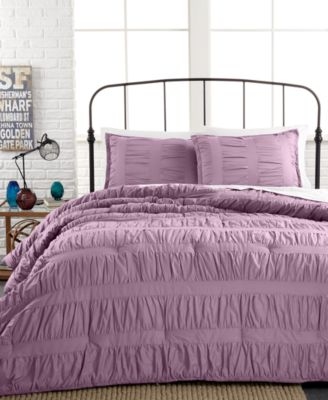 Closeout Ruched Stripes Navy 3 Piece Comforter And Duvet