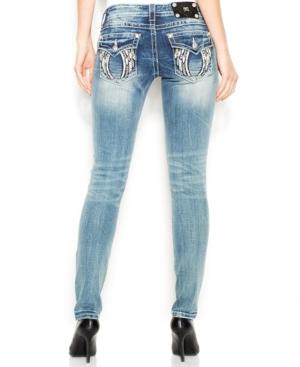 Miss Me Rhinestone Wing Skinny Jeans