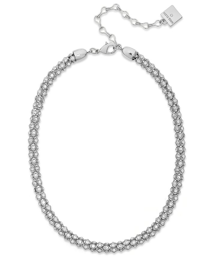 Anne Klein - Silver-Tone Pave Accent Tubular Collar Necklace