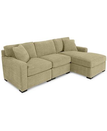 Radley 3 piece fabric chaise sectional sofa custom colors for Radley sectional sofa macy s
