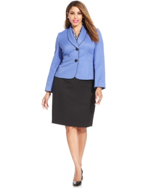 Le Suit Plus Size Crosshatch Skirt Suit & Printed Scarf