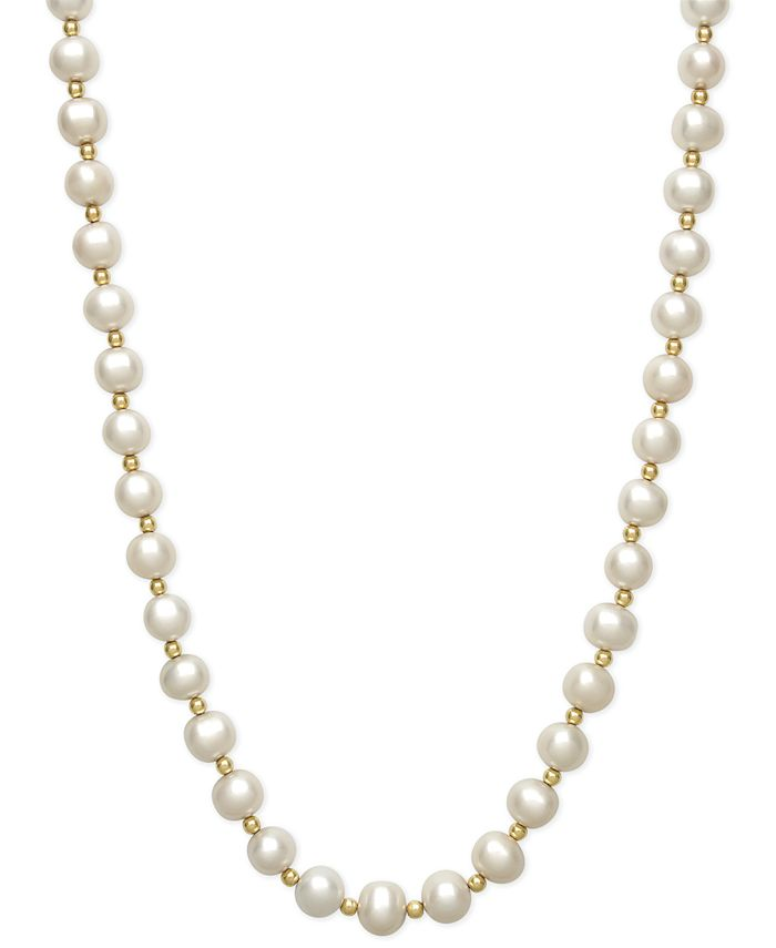 Belle de Mer - Cultured Freshwater Pearl (7-1/2mm) and Bead Necklace in 14k Gold