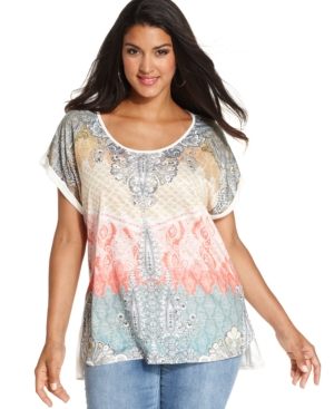 Style & co. Plus Size Printed Embellished Handkerchief-Hem Top