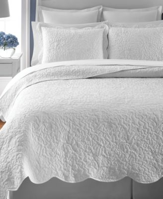 Martha Stewart Collection Whisper Leaves White King Quilt (Only at Macy's)