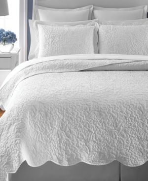 Martha Stewart Collection Whisper Leaves White Twin Quilt, Only at Macy's Bedding