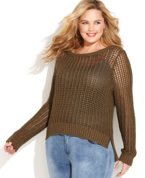 Michael Michael Kors Plus Size Long-Sleeve Open-Knit Sweater