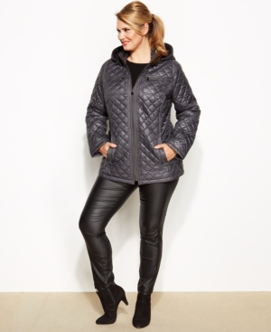 Laundry by Design Plus Size Hooded Quilted Puffer Coat