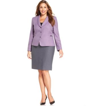 Tahari ASL Plus Size Lavender-Blazer Skirt Suit