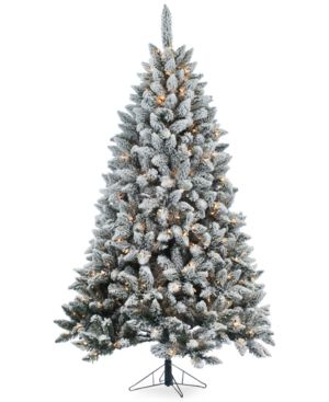 7' Pre-Lit Flocked Fairmont Pine Christmas Tree