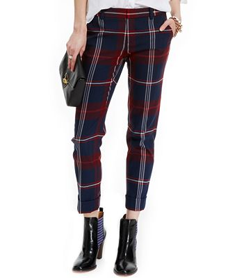 Unique Tommy Hilfiger Straightleg Cuffed Cropped Pants In Blue New Masters