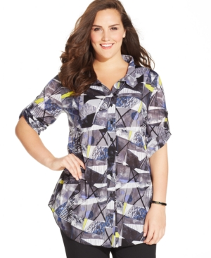 Style & co. Plus Size Abstract-Print Button-Front Shirt