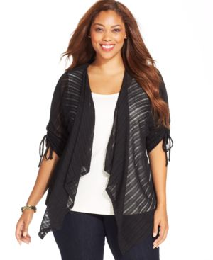 Style & co. Plus Size Three-Quarter-Sleeve Striped Cardigan