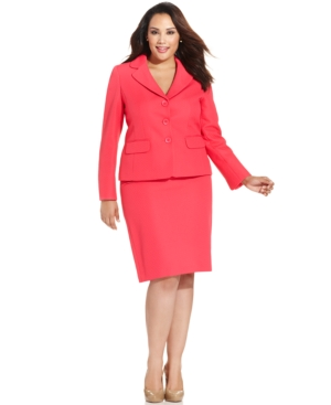 Evan Picone Plus Size Textured Skirt Suit