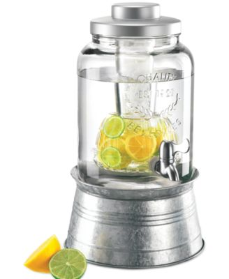 Artland Oasis Galvanized Tin and Glass 2-Gallon Beverage Dispenser