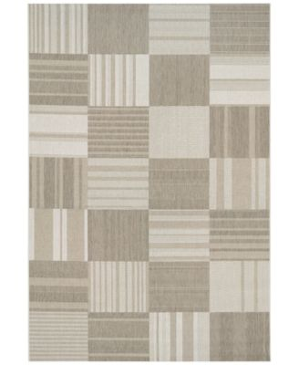 "Couristan Indoor/Outdoor Runner Rug, Afuera 5038/6031 Patchwork Beige-Ivory 2'2"" x 7'10"""