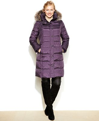 London Fog Plus Size Faux Fur Trim Hooded Quilted Down