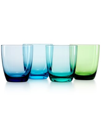 CLOSEOUT! The Cellar Set of 4 Assorted Blue DOF Glasses