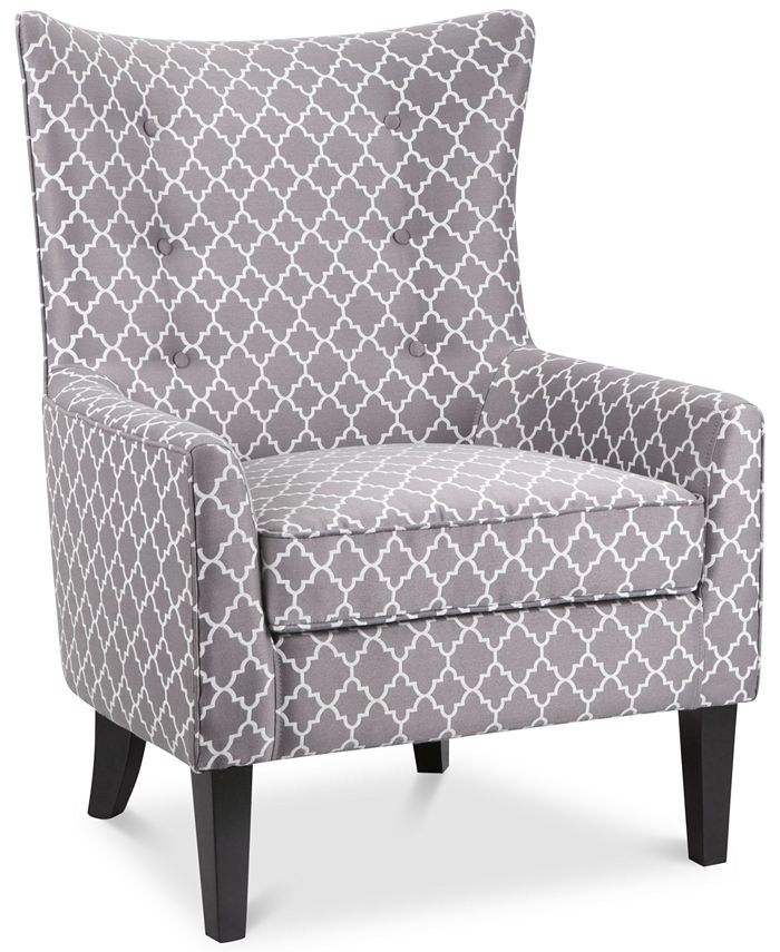 Furniture - Brie Printed Fabric Accent Chair, Direct Ship