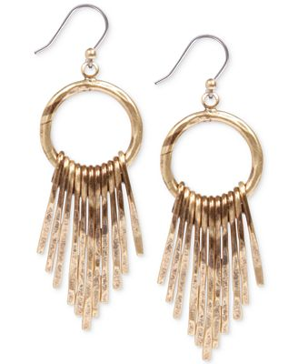 Lucky brand gold tone paddle drop earrings jewelry for Macy s lucky brand jewelry