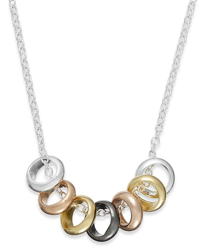 Giani Bernini - Multi-Tone Seven Ring Frontal Necklace in Sterling Silver