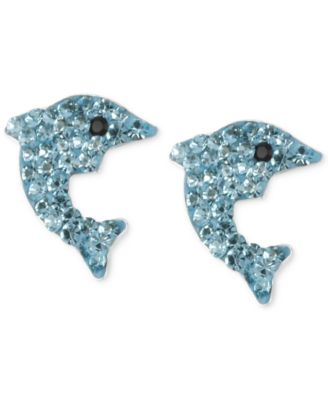 Silver-Tone Blue Pavé Dolphin Stud Earrings