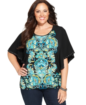 Jm Collection Plus Size Butterfly-Sleeve Printed Top