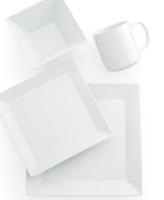 The Cellar Whiteware Square 4-Piece Place Setting