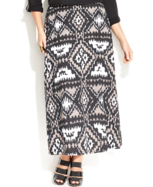 INC International Concepts Plus Size Printed Maxi Skirt