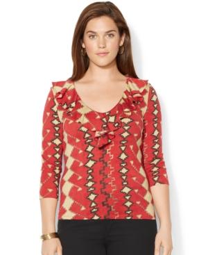 Lauren Ralph Lauren Plus Size Geo-Print Ruffled Top