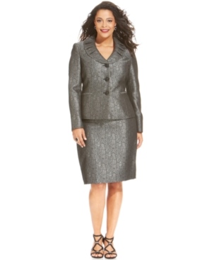 Le Suit Plus Size Pleated-Collar Jacquard Skirt Suit