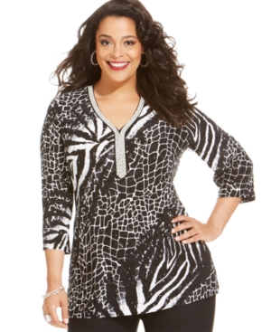 Jm Collection Plus Size Animal-Print Sequined Tunic