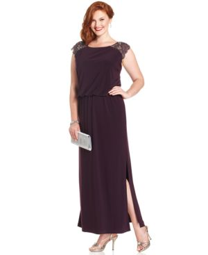 Patra Plus Size Sequin Cap-Sleeve Blouson Gown