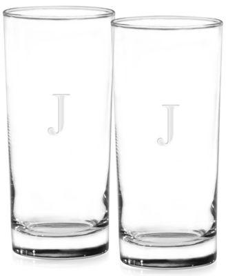 Monogram Highball Glasses, Set of 2